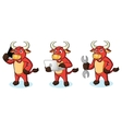 Bull Red Mascot with phone vector image