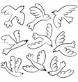 doodle cute flying birds icon set vector image