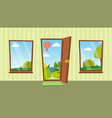opened door and windows cartoon flat vector image