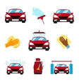 set of car washing flat icons vector image