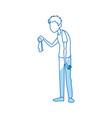 sick man character handkerchief in hand vector image