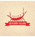 Viking boat The symbol of Reykjavik Iceland vector image