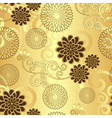 Seamless golden floral pattern vector image
