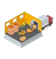 Unloading of goods in a warehouse using forklift vector image