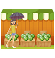 A girl holding an umbrella walking in front of the vector image