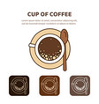 coffee cup icon linear view from above vector image
