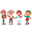 Children celebrating Christmas in Christmas Costum vector image vector image