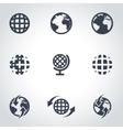 black world map icon set vector image