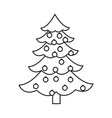 christmas tree pine decoration balls outline vector image