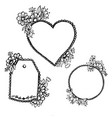 doodle heart pattern an oval and a label vector image