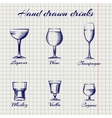 Hand drawn classic alcoholic drinks vector image