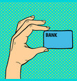 pop art hand with money card vector image