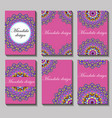 vintage visiting card set floral mandala pattern vector image