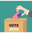 Ballot Voting box Businessman holding American vector image