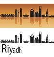 Riyadh skyline in orange background vector image vector image