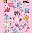 happy birthday origami card vector image