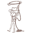 A plain sketch of a cowgirl vector image