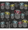 Party seamless pattern with cute owls in colorful vector image