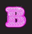 B letter pink bling girly vector image