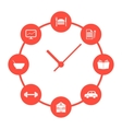 concept of daily routine with red simple watches vector image
