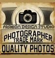photography logo design template retro badge vector image