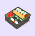 ute bento japanese lunch box funny cartoon food vector image