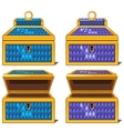 Blue and purple magic chests open and close vector image