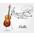 Cello and music notes vector image vector image