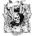 evil angel grunge skull illustration vector image