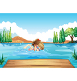 A girl swimming at the sea vector image vector image