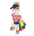 fashion girl on shopping vector image
