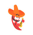 funny cartoon red pepper character wearing vector image