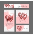 Set of valentine cards design with sakura trees vector image vector image