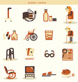 Special objects and equipments for pensioners life vector image