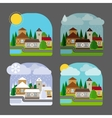 Small town landscape in flat style vector image