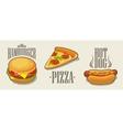 Hamburger pizza hotdog vector image
