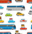 Different color cars and bus Seamless backg vector image