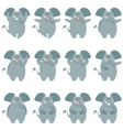 Elephant flat icons set vector image