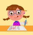 Genius girl with a grade vector image