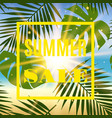 summer sale banner with palms and sun vector image