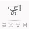 Telescope icon Spyglass sign vector image