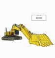 yellow backhoe loader sketch vector image