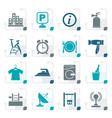 stylized hotel and travel icons vector image vector image