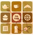 Icons Tea Time Set of 9 icons Grunge background vector image