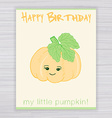 greeting card with cute smile pumpkin on a wooden vector image
