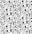 Dishware Doodles Black on White Sketchy Naive vector image