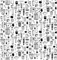 Dishware Doodles Black on White Sketchy Naive vector image