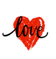 lettering the word love in the shape of the heart vector image