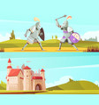 medieval horizontal cartoon banners set vector image