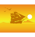 sailing ship on an orange background of the sky an vector image